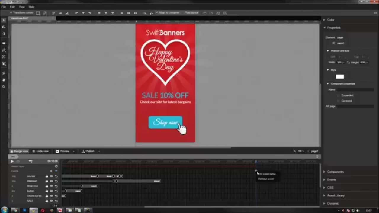 Google Web Designer Banner Tutorial Birthday Html5 Web Banner Ad Youtube