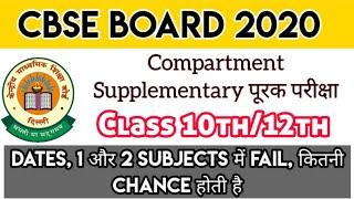 CBSE COMPARTMENT EXAM 2020 CLASS 10TH/12TH DATES DETAIL | CBSE SUPPLEMENTARY EXAM पूरक परीक्षा 2020