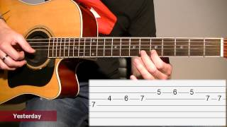 How to play Yesterday (The Beatles) / Acoustic guitar tab lesson (Melody) TCDG