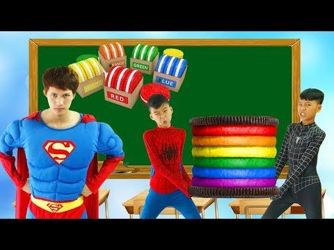 Superman Learn Color CHEESECAKE Masha Blowing Balloons w/ Elsa & Spiderman paint PANDA School Color