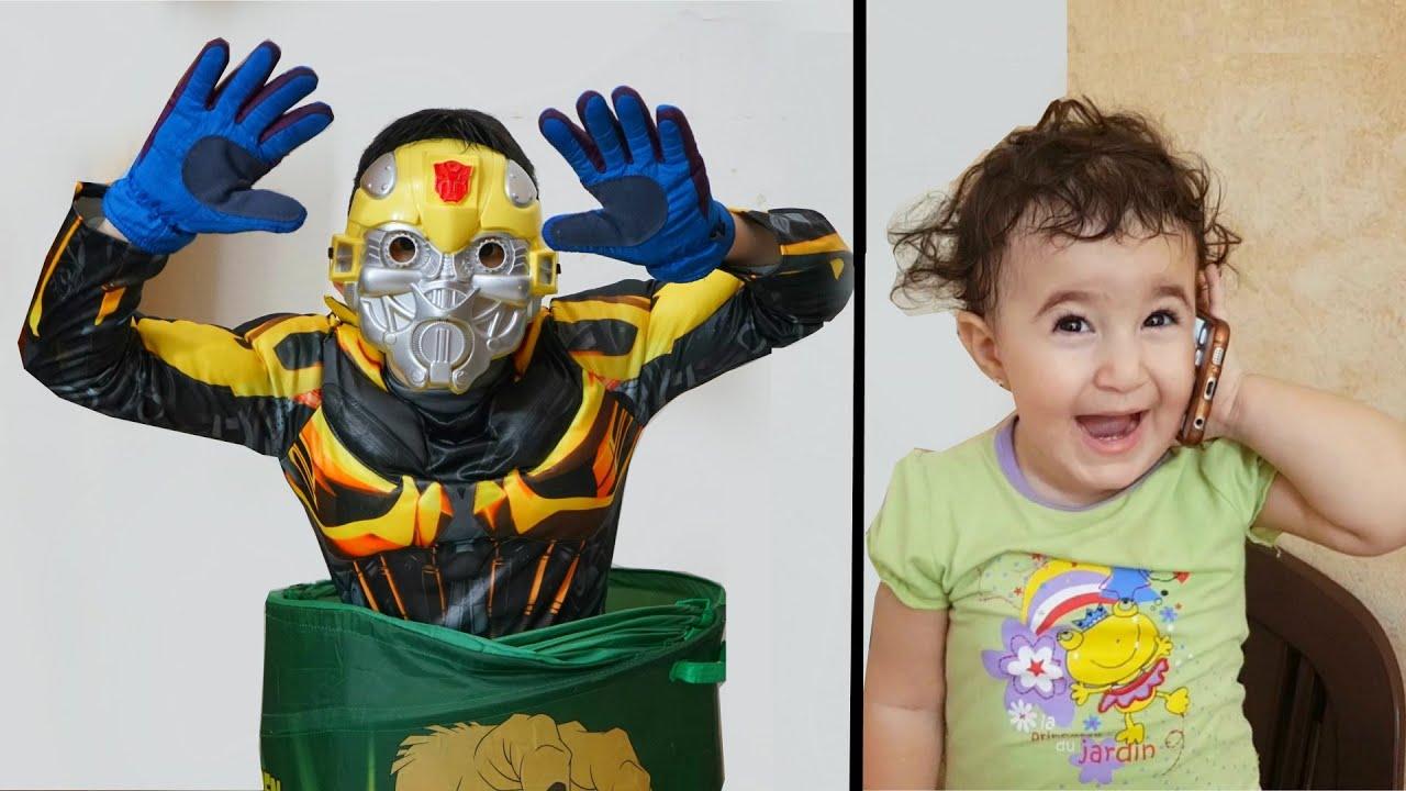 Celina make Robot for kids - سيلينا وحسونة الروبوت