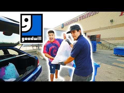DONATING ALL MY WIFES CLOTHES TO GOODWILL!! ULTIMATE REVENGE PRANK!!