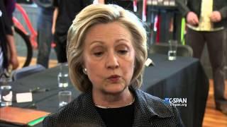 Hillary Clinton talks to media (C-SPAN)