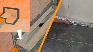 Douche betegelen met lijnafvoergoot: wandinbouw