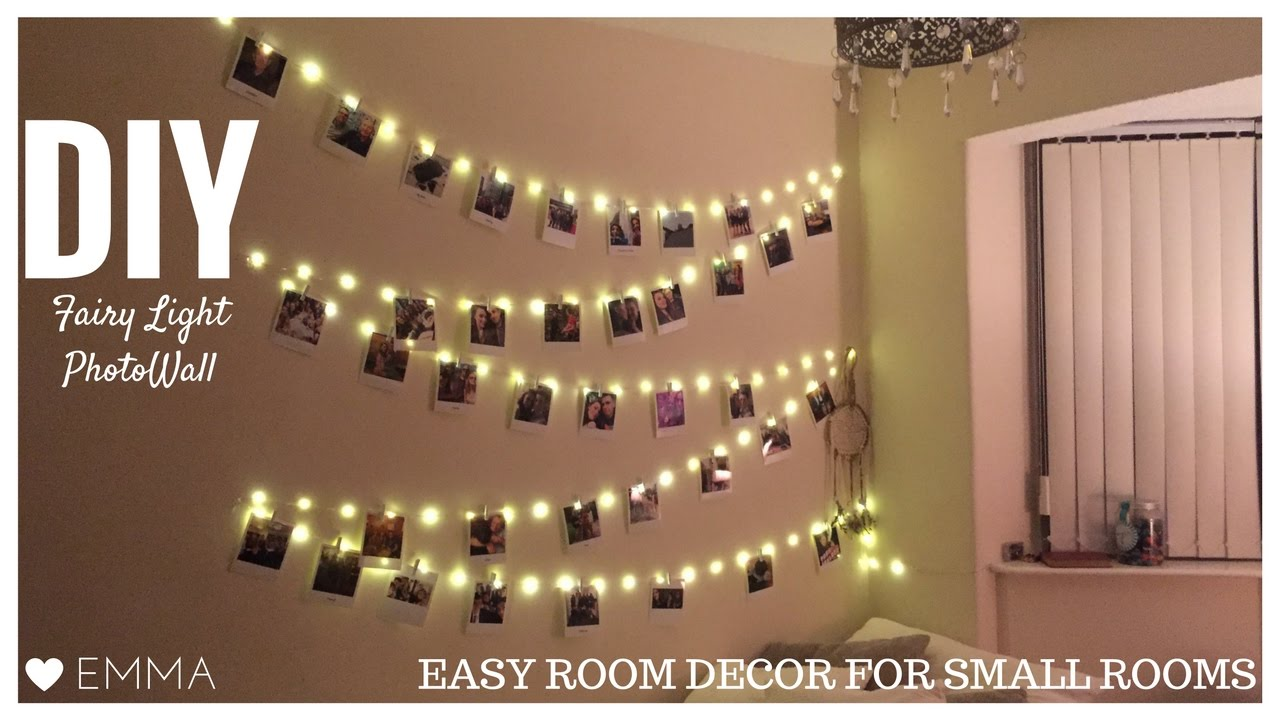 Diy photo fairy light wall polaroid room decor tumblr cc for Room decor with fairy lights