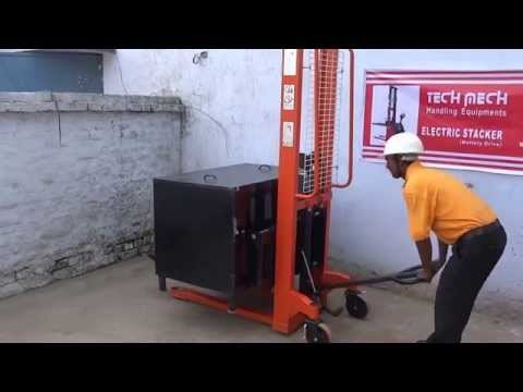 Live Demo Of JET Hydraulic Hand Manual Lifting Stacker, Tech Mech Handling,Meerut 9313159058