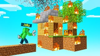 BURNING DOWN My Friends SKYBLOCK ISLAND! (Minecraft)