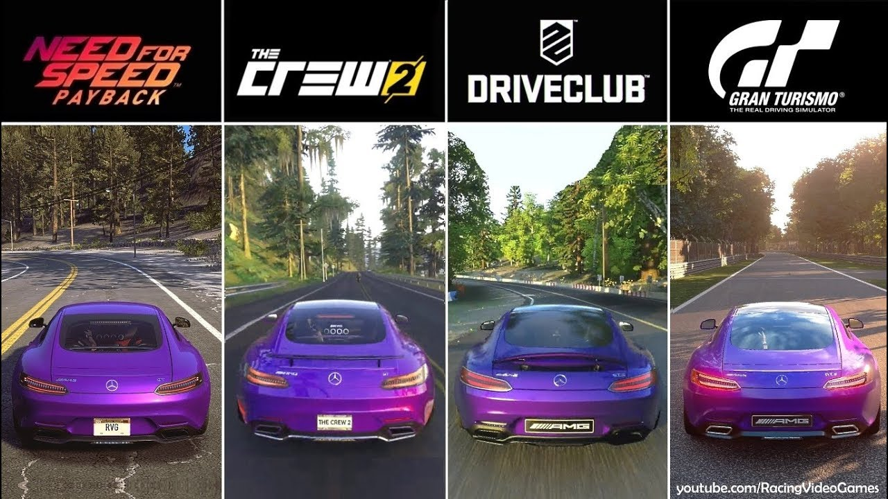 The Crew 2 Vs Need For Speed Payback Vs Driveclub Vs Gran Turismo Sport Graphics Comparison Ps4 Youtube