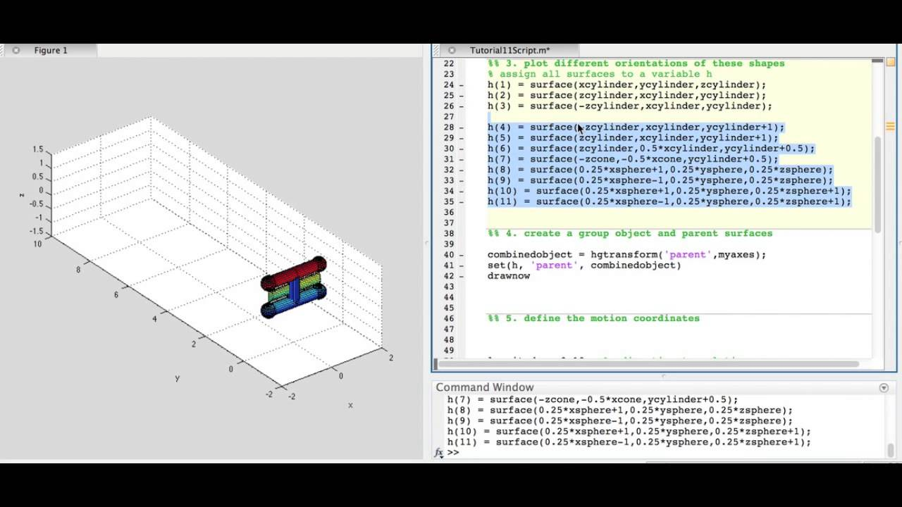 MATLAB Arduino Tutorial 11 - 3-D object creation and animation in MATLAB  using hgtransform()