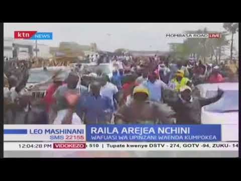 Raila Odinga receives a grand welcome from NASA supporters along Mombasa road