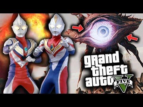 GTA 5 Mod Indonesia - ULTRAMAN TIGA & DYNA vs MONSTERS ILLUMINATI