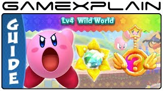Kirby Triple Deluxe - World 4 Sun Stones & Rare Keychains Guide & Walkthrough (3DS)