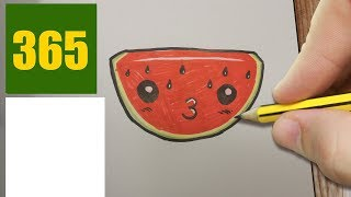 HOW TO DRAW A WATERMELON CUTE, Easy step by step drawing lessons for kids
