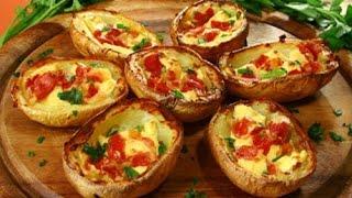 Картофель в духовке - лодочки с салом и горчицей
