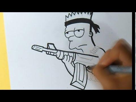 Cómo Dibujar A Bart Simpsons Rambo Graffiti Zaxx Youtube