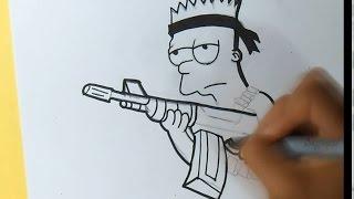 cómo dibujar a Bart Simpsons (Rambo) Graffiti - | ZaXx