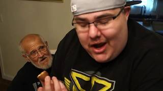 Angry Grandpa Is On Helium - The Chocolate Covered Raw Egg Prank! *Vomit Alert*