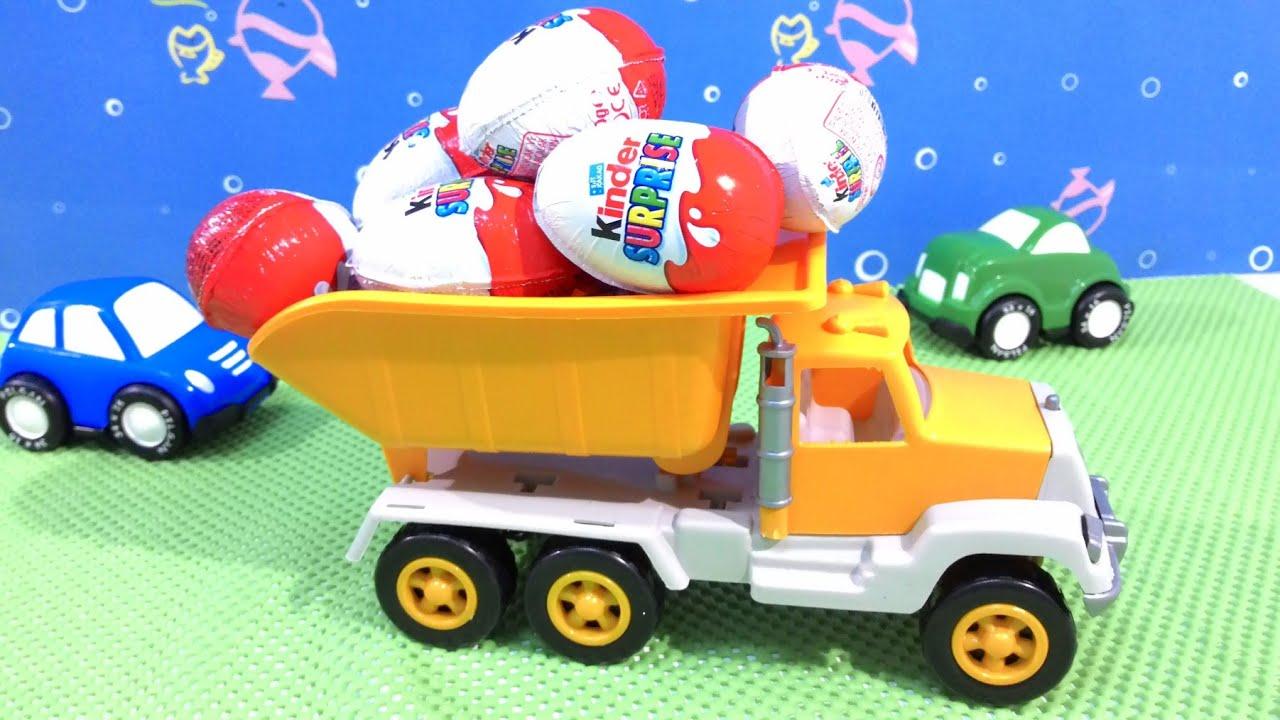 Kinder Surprise Eggs Truck Toys Video For Children