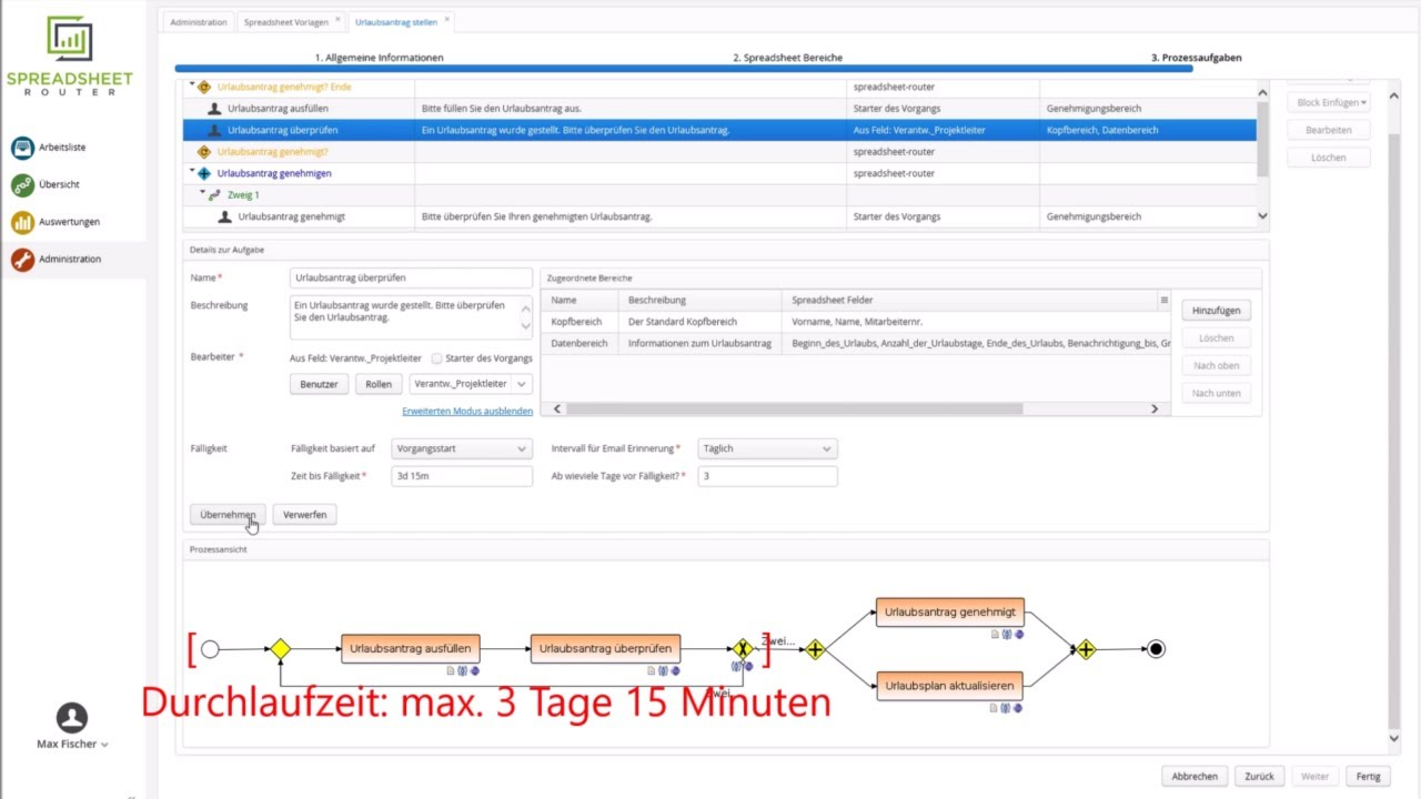 Youtube Video: Spreadsheet Router Tutorial: Laufzeit eines Vorgangs sicherstellen
