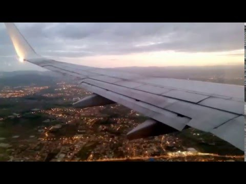 Beautiful landing at sunset time in Algiers international airport