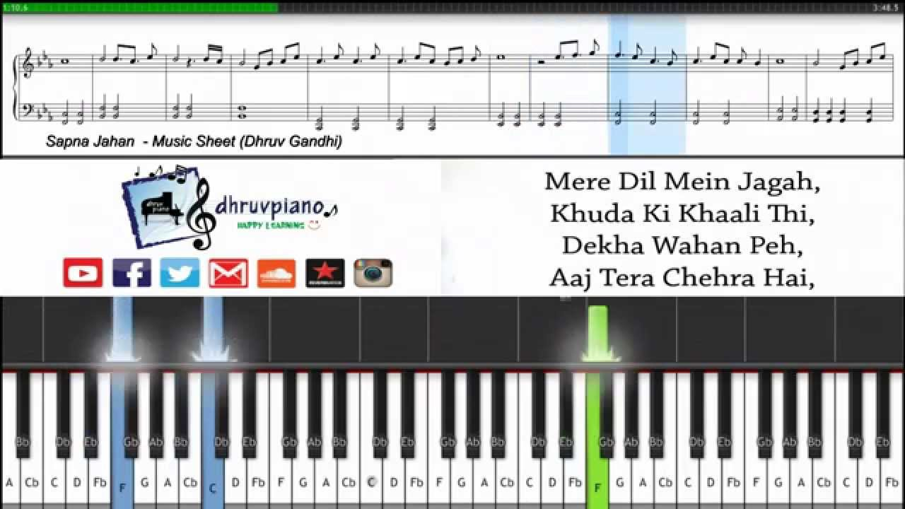 Sapna Jahan Brothers Piano Tutorial Sheet Music Midi With Lyrics