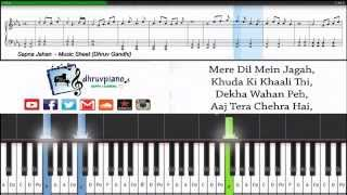 Sapna Jahan (Brothers) || Piano Tutorial + Sheet Music + MIDI with Lyrics