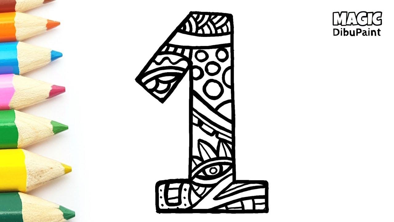 Dibujar Y Colorear El Número 1 Dibujos Para Niños
