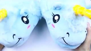 """Плюшевые комнатные тапочки """"Единорог"""" (голубые) Обзор"""
