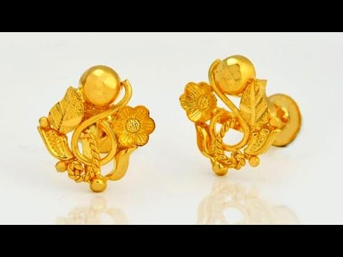 Light Weight 22k Gold Top Earrings Designs