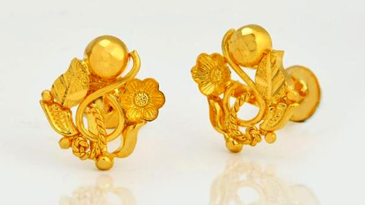 Light Weight 22k Gold Top Earrings Designs - YouTube