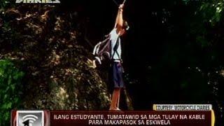 Ilang estudyante sa San Miguel, Bulacan, tumatawid sa mga tulay na kable para makapasok sa eskwela