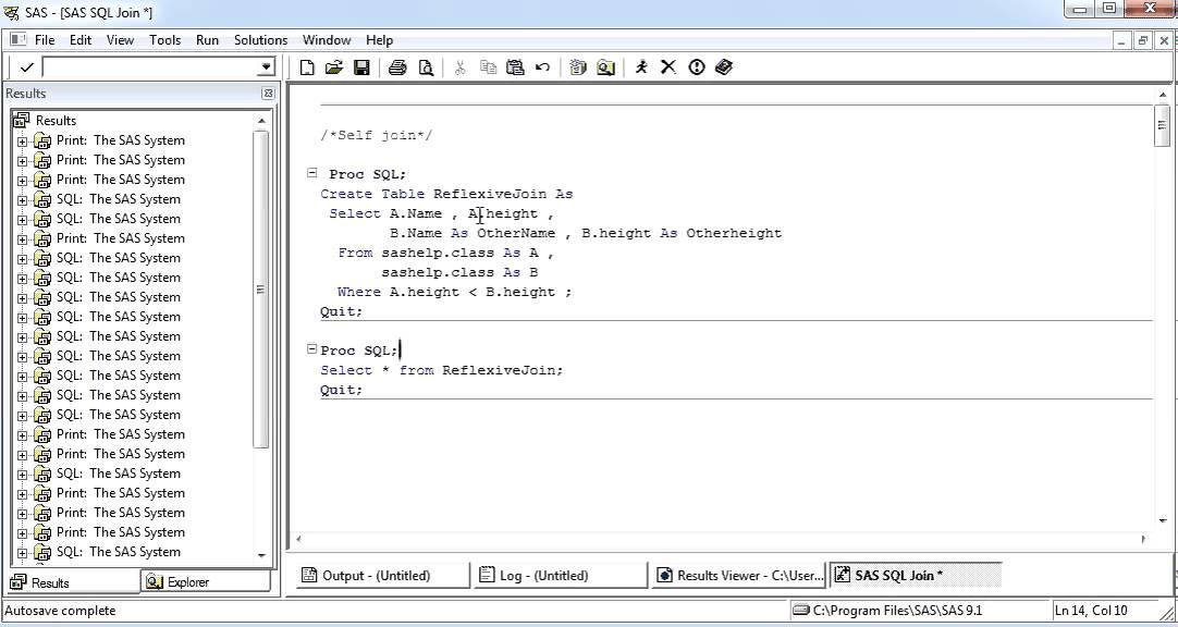 Self Join in SAS SQL - Proc SQL