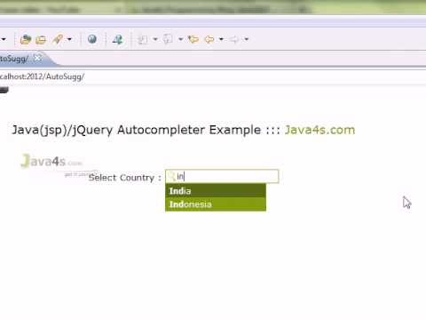 Example On Autocomplete In Java/Jsp With jQuery API, Jsp Autocomplete