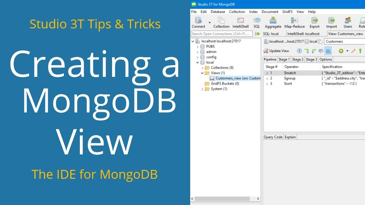 How to Create a MongoDB View | Studio 3T