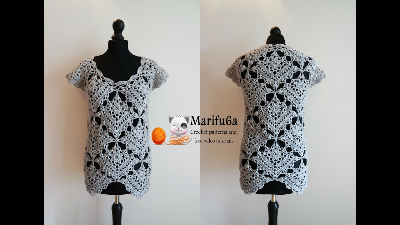 How to crochet top tunic from motifs pattern tutorial ...