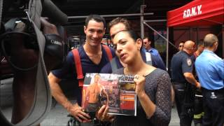 2015 FDNY CALENDAR SIGNING ON W. 42ND ST. IN TIMES SQUARE ARES OF MANHATTAN IN NEW YORK CITY.