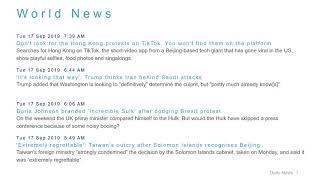 World News Headlines for 17 Sep 2019 - 8 AM Edition