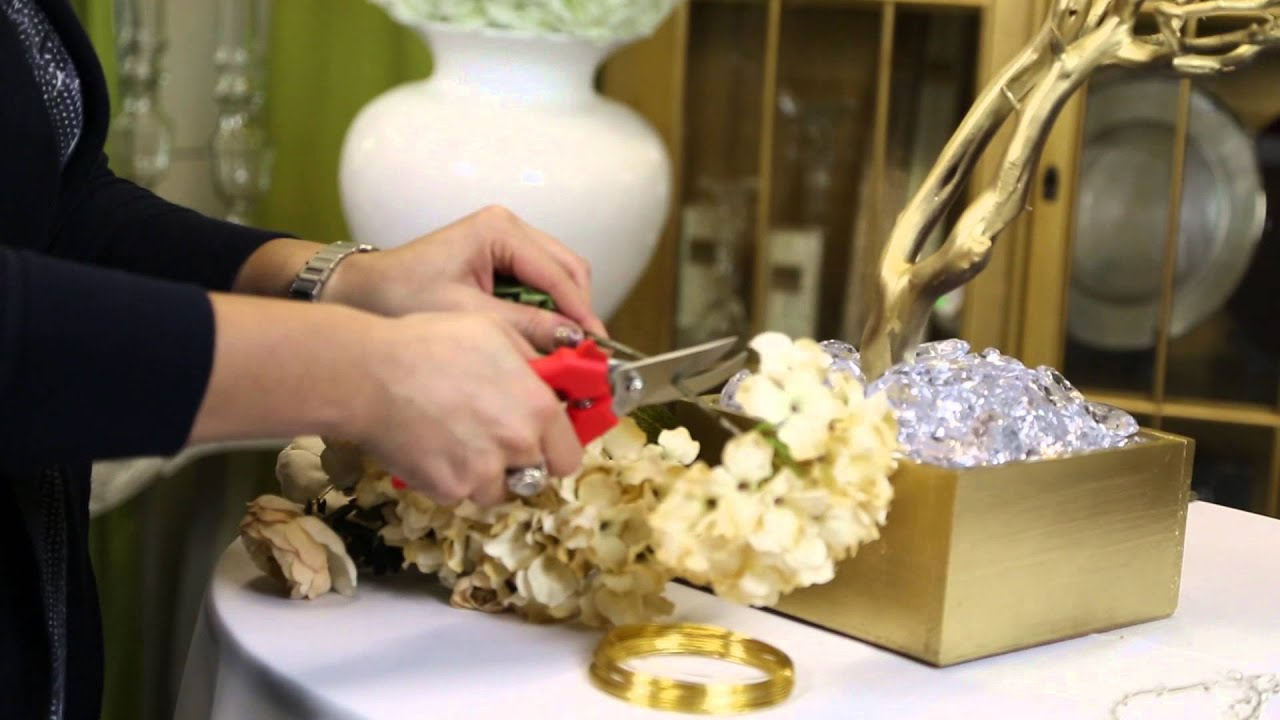 Attaching Silk Flowers On Branch Centerpieces : Wedding