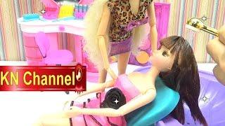 Đồ chơi trẻ em Búp bê Barbie tập 32 Tiệm làm tóc gội đầu Hair Salon Kids toy