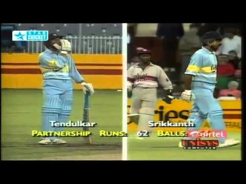 Krishnamachari SRIKKANTH 60   Sachin TENDULKAR 57  Vs WI at
