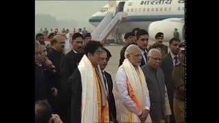 PM Modi and Japanese Prime Minister Shinzo Abe arrive at Varanasi Airport
