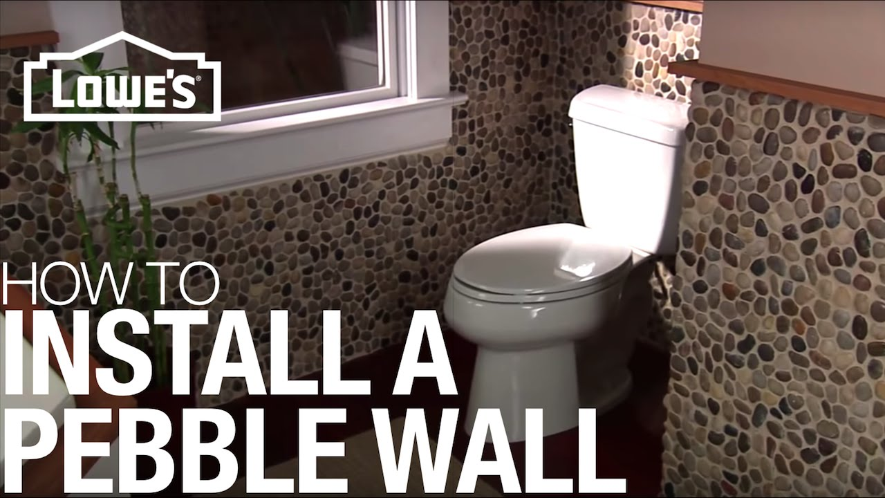 Install a pebble tile accent wall installation youtube How to put tile on wall in the kitchen