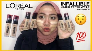 LOREAL Infallible 24H Fresh Wear Foundation Swatch Bahasa Indonesia DienDiana