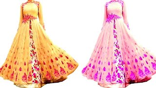 Long gown cutting and stitching //very easy method..👌👌👍