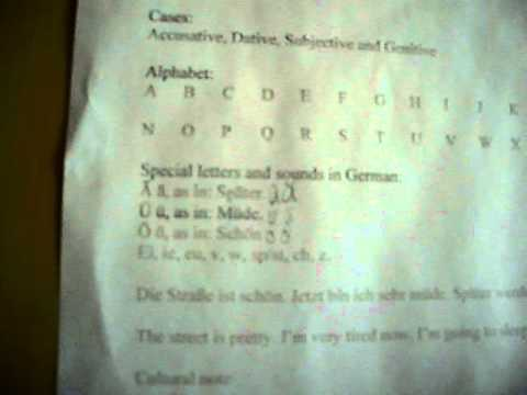 Free Basic German lessons with Bismarck710 (April 21, 2011) lesson 1