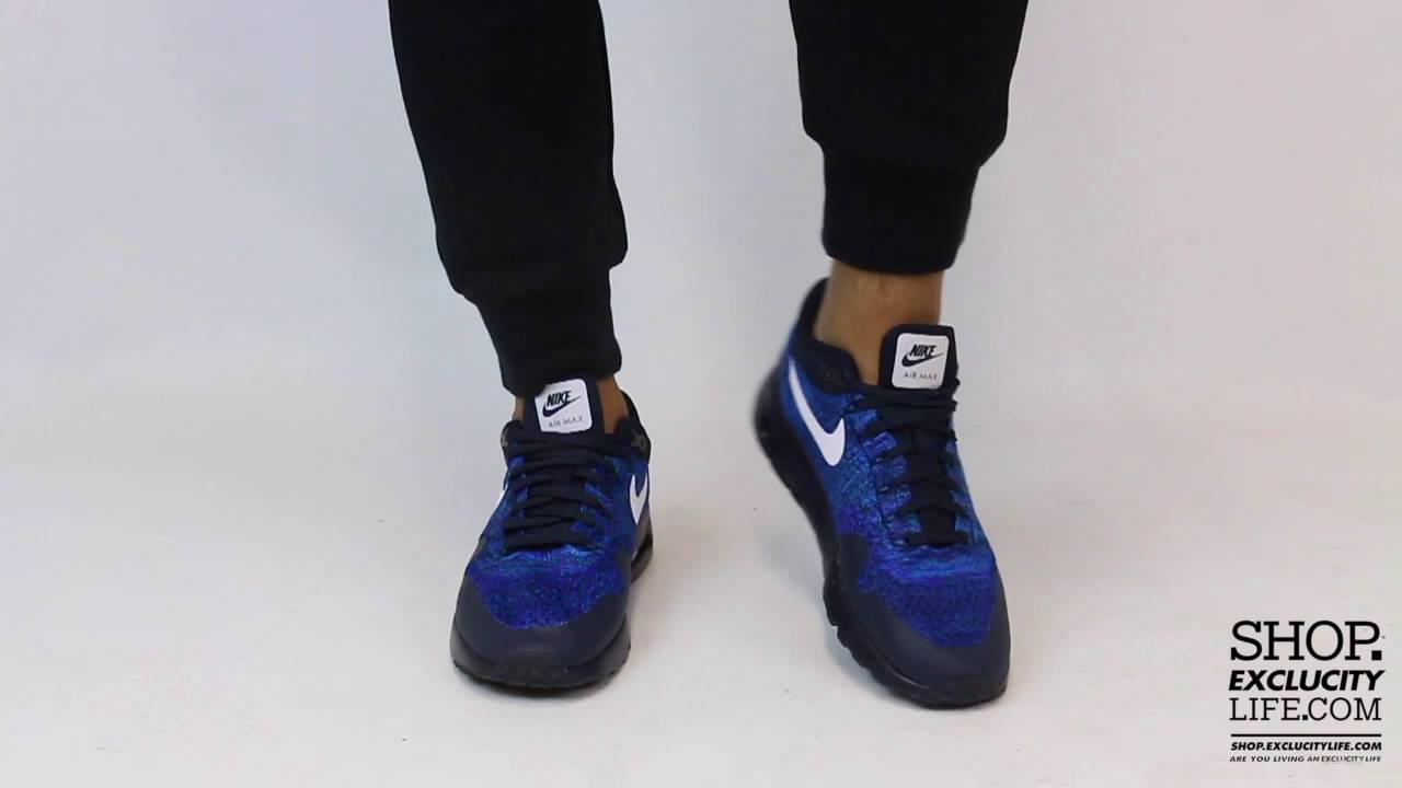 1a75e021ee6 Nike Air Max 1 Flyknit Ultra Photo Blue On feet Video at Exclucity - YouTube