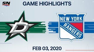 NHL Highlights | Dallas Stars vs. New York Rangers – Feb. 3, 2020