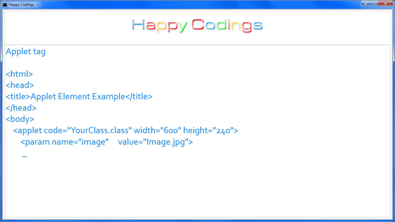 28 html applet tag youtube.