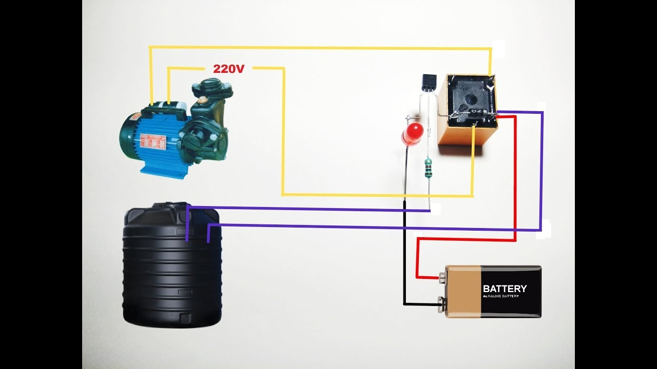 how to make water pump auto cut switch circuit simple water tank overflow cut off circuit  [ 1280 x 720 Pixel ]