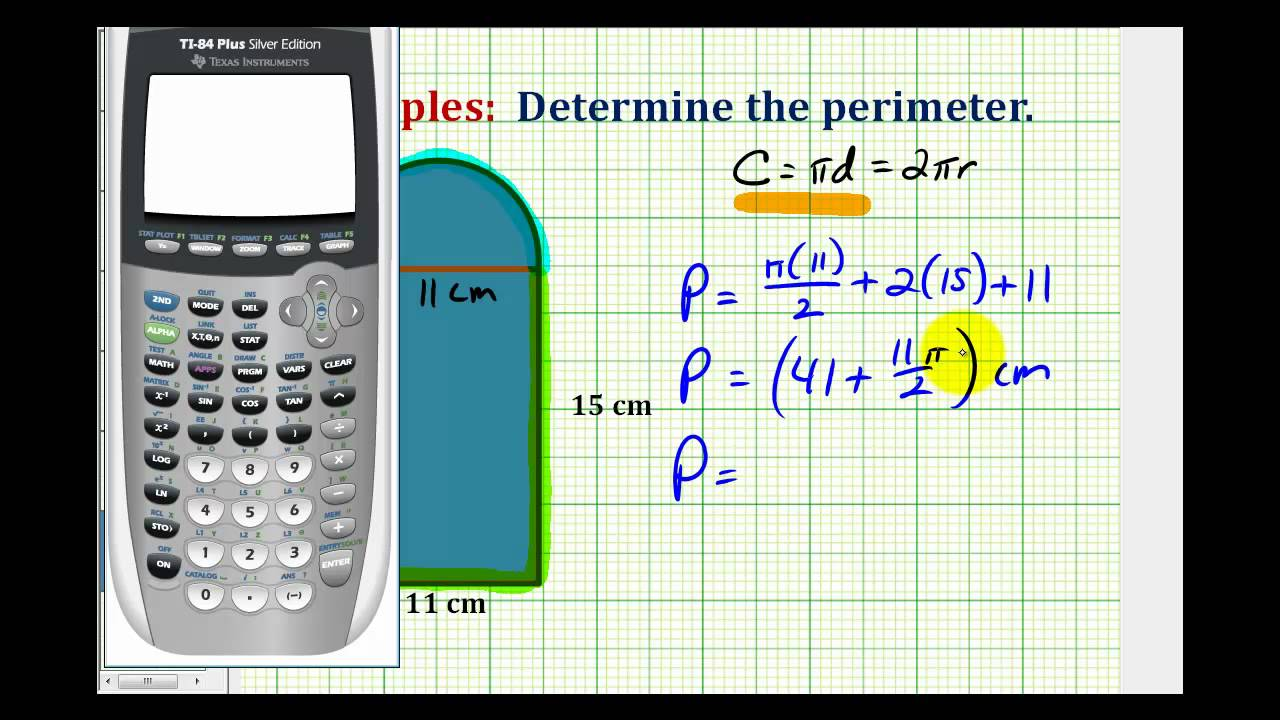 Example: Determine Perimeter Involving A Rectangle And Circle